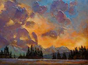 "SOLD ""Rolling Clouds,"" by David Langevin 30 x 40 – acrylic $3450 (thick canvas wrap without frame)"