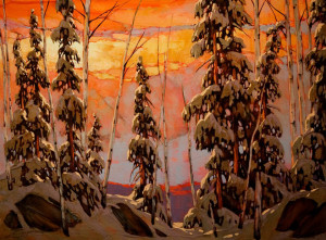 "SOLD ""Sepia Snow,"" by David Langevin 30 x 40 – acrylic $3140 Unframed"