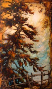 "SOLD ""Sheila's Tree,"" by David Langevin 18 x 30 – acrylic $1820 Framed"
