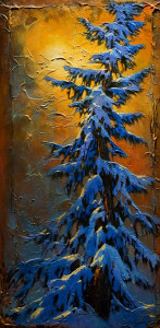 "SOLD ""Smell of Snow,"" by David Langevin 24 x 48 – acrylic $3375 (thick canvas wrap without frame)"