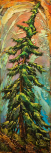 "SOLD ""Solstice Fir,"" by David Langevin 12 x 36 – acrylic $1670 Unframed"