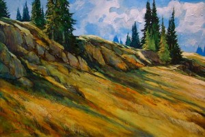 "SOLD ""Summer Alpine – Bob Got on the Chairlift,"" by David Langevin 40 x 60 – acrylic $4000 Framed"