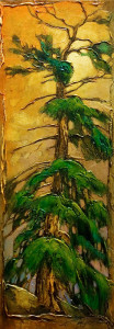 "SOLD ""Summer Balding,"" by David Langevin 10 x 28 – acrylic $1280 Framed"