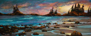 "SOLD ""Surf and Sand,"" by David Langevin 24 x 60 – acrylic $4200 (thick canvas wrap without frame)"