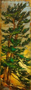 "SOLD ""Two Twins,"" by David Langevin 10 x 28 – acrylic $1200 (thick canvas wrap without frame)"