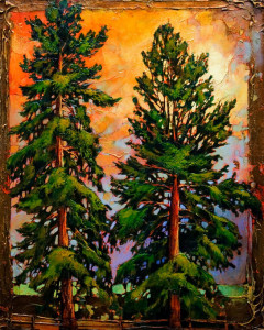 "SOLD ""The Wedding Trees,"" by David Langevin 24 x 30 – acrylic $2125 Unframed"