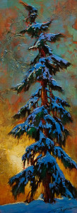 "SOLD ""Winter Isolation,"" by David Langevin 9 x 24 – acrylic $895 Unframed"