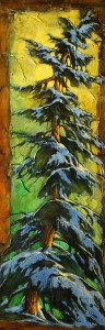 "SOLD ""Winter Twin,"" by David Langevin 12 x 36 – acrylic $1395 Unframed"