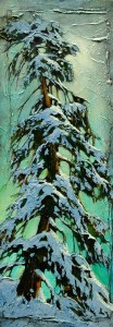 "SOLD ""Yellow Pine & Green,"" by David Langevin 9 x 24 – acrylic $895 Unframed"