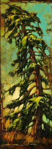 "SOLD ""Yellow Pine with Green,"" by David Langevin 9 x 24 – acrylic $1080 Framed"