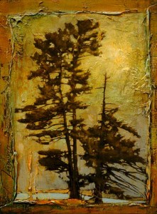 "SOLD ""Yves Tree Collage,"" by David Langevin 9 x 12 – mixed media $695 Framed"