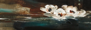 "SOLD ""Drifting,"" by Susan Flaig 8 x 24 – acrylic/graphite $750 Unframed"