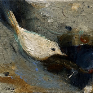 "SOLD ""In Hiding,"" by Susan Flaig 6 x 6 – acrylic/graphite $350 Unframed $490 Custom framed"