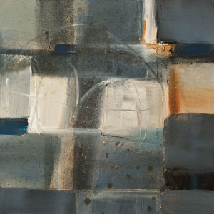 "SOLD ""Sitting by the Dock of the Bay,"" by Susan Flaig 16 x 16 – acrylic/graphite $880 Unframed"