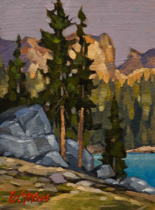 "SOLD ""Alberta High Country Lake,"" by Graeme Shaw 5 x 7 – oil $390 Unframed $560 Custom framed"