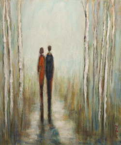 "SOLD ""A New Path to Follow,"" by Bev Binfet 20 x 24 – acrylic $970 Unframed"