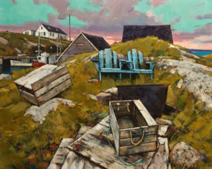 "SOLD ""Behind the Marina,"" by Min Ma 24 x 30 – acrylic $4060 Unframed"