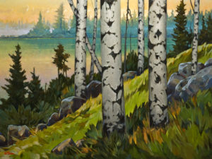 "SOLD ""Boya Lake Morning,"" by Graeme Shaw 36 x 48 - oil $4900 (artwork continues onto edges of wide canvas wrap)"