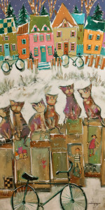 "SOLD ""Les Chats du Café,"" by Claudette Castonguay 18 x 36 – acrylic $1270 Unframed"