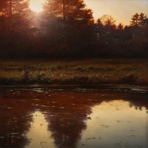 "SOLD ""Dawn on the North Canal,"" by Renato Muccillo 18 x 18 – oil Value: $3600 Custom framed SOLD at fundraiser auction for $4600 custom framed"