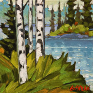 "SOLD ""Edzo, N.W.T., Pond View,"" by Graeme Shaw 6 x 6 – oil $420 Unframed $600 Custom framed"