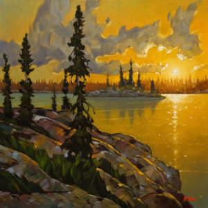 "SOLD ""Evening Light, N.W.T.,"" by Graeme Shaw 26 x 26 – oil $2335 (artwork continues onto edges of wide canvas wrap)"