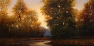 "SOLD ""Evening Slough,"" by Renato Muccillo 15 x 30 – oil (2006) $4000 Custom framed"