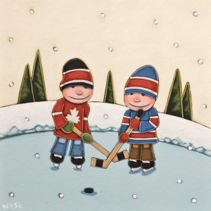 "SOLD ""The Faceoff,"" by Peter Wyse 10 x 10 – acrylic $670 (unframed panel  with 1 1/2"" edging)"