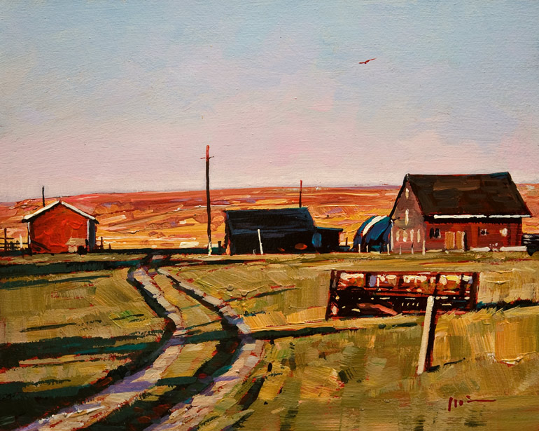 SOLD ``Farm Barn,`` by Min Ma 8 x 10 - acrylic $770 Unframed $950 Custom framed