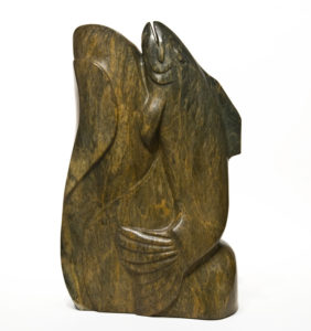 "SOLD ""Final Journey,"" by Marilyn Armitage 17"" (H) x 10"" (L) x 4"" (W) - Soapstone $1550"