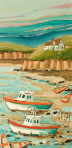 "SOLD ""The Fishers Bay,"" by Claudette Castonguay 12 x 24 – acrylic $700 Unframed"