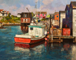 """Fishing Boats at Wharf, Peggy's Cove,"" by Min Ma 24 x 30 - acrylic $4460 Unframed"