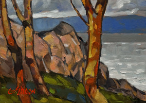 "SOLD ""From Pipers Lagoon,"" by Graeme Shaw 5 x 7 – oil $390 Unframed $560 Custom framed"