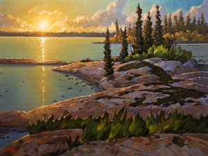 "SOLD ""Great Slave Lake Evening,"" by Graeme Shaw 36 x 48 – oil $4840 (thick canvas wrap without frame)"