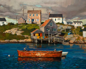 "SOLD ""Harbour Side (Nova Scotia),"" by Min Ma 24 x 30 – acrylic $4460 Unframed"