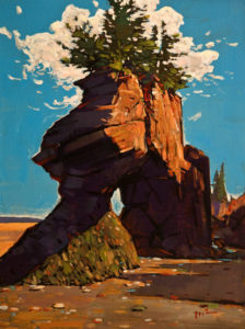 """Hopewell Rocks, New Brunswick,"" by Min Ma 9 x 12 - acrylic $1090 Unframed"