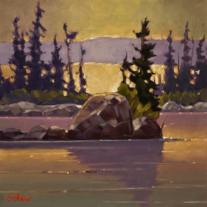 "SOLD ""Islands of Old Fort Rae,"" by Graeme Shaw 12 x 12 – oil $650 Unframed"
