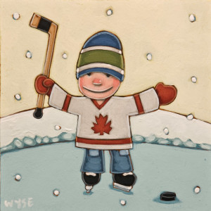 "SOLD ""Little Allstar,"" by Peter Wyse 6 x 6 – acrylic $400 (unframed panel with 1 1/2"" edging)"