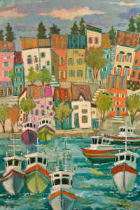 "SOLD ""La Marina,"" by Claudette Castonguay 24 x 36 – acrylic $1600 Unframed"