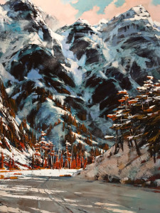"SOLD ""Mountain Pass,"" by Min Ma 30 x 40 – acrylic $5000 Unframed"