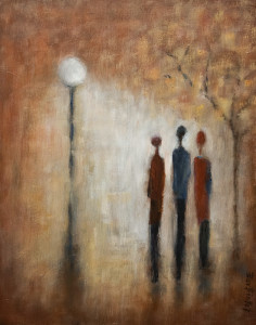 "SOLD ""Nice to Run Into You,"" by Bev Binfet 11 x 14 – oil $540 Unframed"