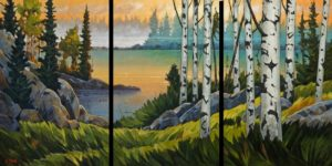 "SOLD (commissioned) ""Northern Lake Morning,"" by Graeme Shaw triptych – 36 x 72 (overall size) – oil $8500 (thick canvas wrap)"