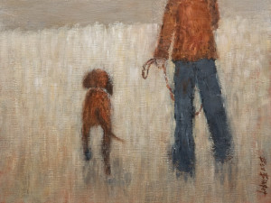 "SOLD ""Off the Leash,"" by Bev Binfet 9 x 12 – oil $450 Unframed"