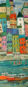 "SOLD ""The Old City,"" by Claudette Castonguay 12 x 36 – acrylic $1000 Unframed"