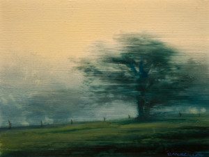 "SOLD ""Orchard,"" by Renato Muccillo 3 3/8 x 4 3/8 – oil $900 Custom framed"