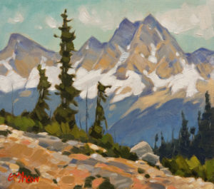 "SOLD ""Peak's View,"" by Graeme Shaw 9 x 10 – oil $530 (artwork continues onto edges of wide canvas wrap)"