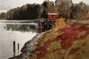 """River Dock,"" by Min Ma 24 x 36 - acrylic $4630 Unframed"
