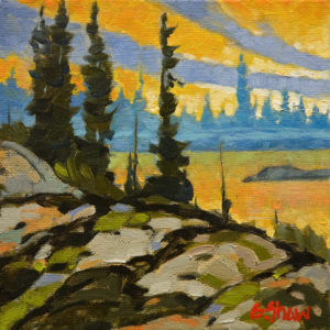 "SOLD ""Russell Lake, N.W.T.,"" by Graeme Shaw 6 x 6 – oil $420 Unframed $600 Custom framed"