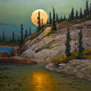 "SOLD ""September Moon,"" by Graeme Shaw 48 x 48 – oil $6400 (thick canvas wrap without frame)"