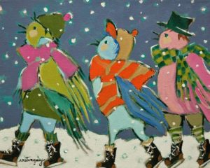 """The Skaters,"" by Claudette Castonguay 8 x 10 - acrylic $340 Unframed"